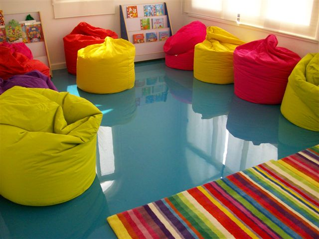 Kid's play room concrete floor
