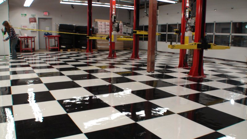 garage flooring black and white tiles lined