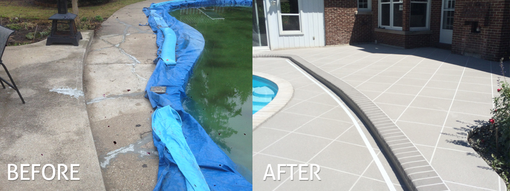 Before and after concrete overlay by pool