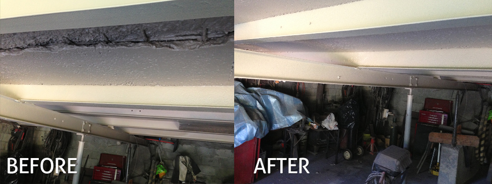Before After concrete lining garage ceiling