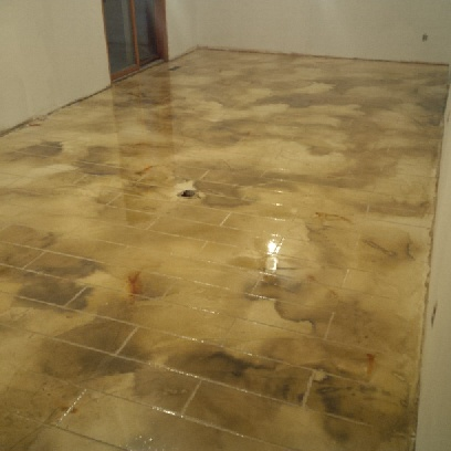Residential concrete bathroom floor